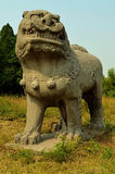Stone Statues of Lion - Song Dynasty Tombs, China. Ancient Stone Statue of a Lion - Song Dynasty Tombs, Gongyi nr Luoyang, China Royalty Free Stock Image