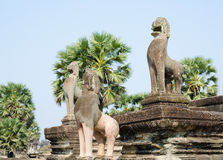 Angkor lions, Cambodia Royalty Free Stock Images