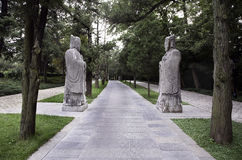 Stone statues at Ming Xiaoling Stock Image