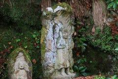 Stone statues representing disciples of Buddha kyoto. The Otagi Nenbutsu ji Temple, Kyoto, Japan Royalty Free Stock Image
