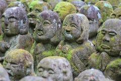Stone statues representing disciples of Buddha kyoto. The Otagi Nenbutsu ji Temple, Kyoto, Japan Stock Photo