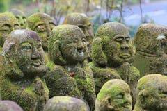 Stone statues representing disciples of Buddha kyoto. The Otagi Nenbutsu ji Temple, Kyoto, Japan Stock Photography