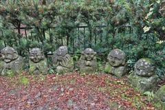 The stone statues representing disciples of Buddha. The Otagi Nenbutsu ji Temple, Kyoto, Japan Royalty Free Stock Images