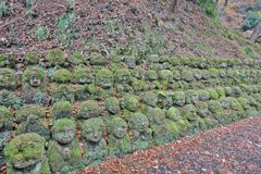 The stone statues representing disciples of Buddha. The Otagi Nenbutsu ji Temple, Kyoto, Japan Stock Photography
