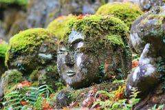 The stone statues representing disciples of Buddha. The Otagi Nenbutsu ji Temple, Kyoto, Japan Stock Images