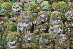 The stone statues representing disciples of Buddha. The Otagi Nenbutsu ji Temple, Kyoto, Japan Royalty Free Stock Photography
