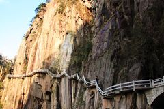 Free Stone Steep Steps . Trekking Walking Hiking Huangshan Mountain. Royalty Free Stock Photo - 101160775