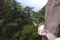 Stone Steep Steps . Trekking walking hiking Huangshan Mountain. Stock Image