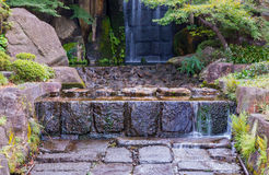 Stone step and waterfall. Stock Photos