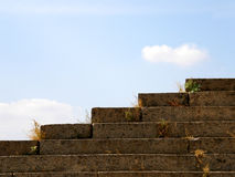Stone steps. Overgrown grass stone steps against the blue sky Stock Image