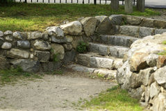 Stone Steps. And walkway at the park entrance royalty free stock image