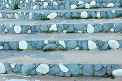 Stone steps with an abstract pattern of blue color Stock Photo