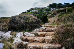 Stone steps along coastline in italy royalty free stock images