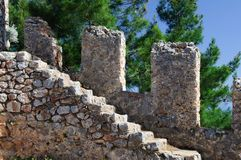 Stone steps of an ancient ladder. Royalty Free Stock Photo