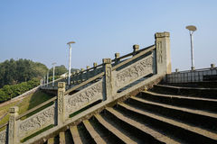 Stone steps with balustrade on dam in sunny winter Royalty Free Stock Photos