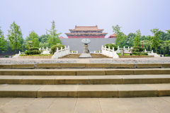 Stone steps before Chinese old-fashioned castle in sunny summer Royalty Free Stock Photos