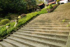 Stone steps before Chinese traditional building in sunny afterno Royalty Free Stock Photos