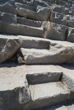 Stone steps of Coliseum. A huge beautiful and unusual stone steps of Coliseum lightened by sunlight stock photo
