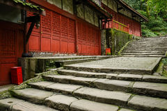 Stone steps and footpath before ancient Chinese buildings in aft Royalty Free Stock Images