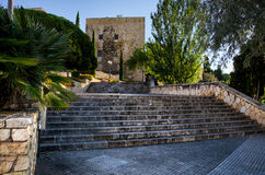 Stone steps leading to Roman tower in Tarragona, Spain Royalty Free Stock Image