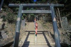 Stone steps leading up to the Engaku-Ji Zviroku-San Dai-Engaku Kosho Zen-Jin, a Zen Center, Kamakura, Little Old Kyoto, near Tokyo Stock Image