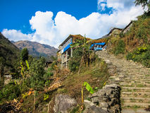 Stone Steps Leading up to a Trekking Village in Nepal Stock Images