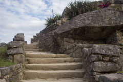Stone steps at Machu Picchu Stock Photography