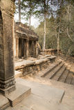Stone steps outside ruins of Preah Khan, Angkor Thom, Cambodia Stock Photo