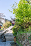 Stone steps and pavilion in Zhuxian Art blocks view stock photography