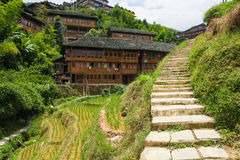 Stone steps in ping'an village at longsheng china Royalty Free Stock Images