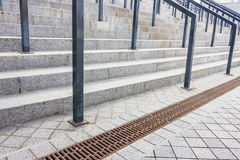Stone steps with railing Royalty Free Stock Images