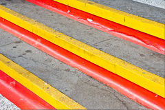 Stone steps. With red and yellow lines Stock Images