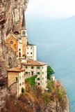 Stone steps of stairs Madonna della Corona. Stone steps of stairs to Ancient Madonna della Corona santuario facade under rocks in high mountains. Veneto region royalty free stock photo