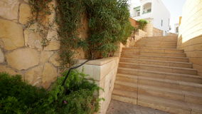 Stone steps on the territory of the Egyptian hotel stock video footage