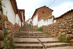 Stone steps to the hilltop Inca town plaza of Chinchero, Cuzco. Peru, South America stock image