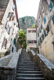 Stone Steps Up Narrow Alley in Kotor Stock Photos