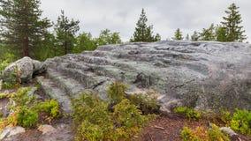 Stone steps on Vottovaara Mountain Stock Photo