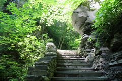 Stone steps at Watkins Glen State Park. Rock wall and stone stairs along the gorge trail. Summer sun shining through the trees royalty free stock photography