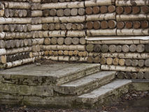 Stone steps and wooden house. Stone porch at a wooden house without a door Royalty Free Stock Photos