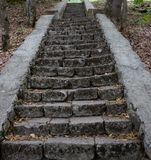 Stone steps in the woods on the monastery grounds Stock Photo