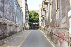 Stone street in Catania city, Sicily Stock Photo