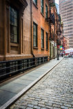 Stone Street, in the Financial District of Manhattan, New York. Royalty Free Stock Photography