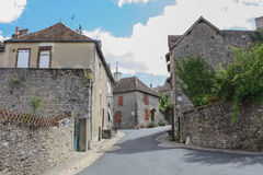 Stone street in france. View of a street in a old stone city called Fresnay sur sarthe in france stock photo