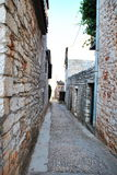 STONE STREET AND HOUSES OF THE SMALL TOWN, VRBOSKA , HVAR ISLAND, CROATIA Stock Images