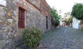 Walk down Calle de Solis. Uruguay. Stone street located in Colonia, Uruguay. 2016. Taken in the historic center of this highly important city Stock Photos