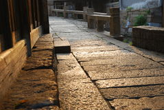 Stone street. The street made from stone, in a old small village of China, with bulding made from wood Stock Photos
