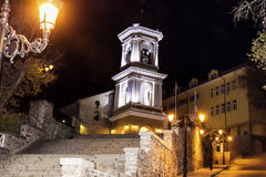 Stone street  in the old town of Plovdiv -night scene Royalty Free Stock Photo
