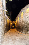 Stone street  in the old town of Plovdiv -night scene Royalty Free Stock Images