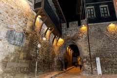 Stone street  in the old town of Plovdiv -night scene Stock Images