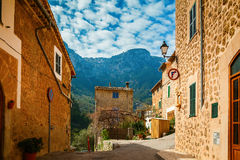 Stone street in the small village Deia Stock Photos